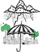 Umbrella and storm doodle Stock Illustration