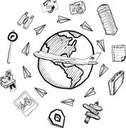 Global tourism doodles Stock Illustration