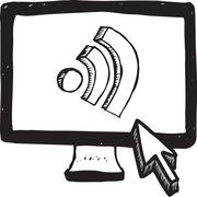 Wifi symbol on computer screen - stock illustration