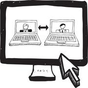 Video chat doodle on computer screen Stock Illustration