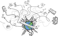 International business and travel doodles Stock Illustration