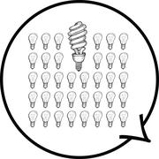Light bulbs in speech bubble Stock Illustration