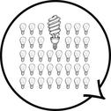 Stock Illustration of Light bulbs in speech bubble