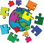 Earth with jigsaw pieces - stock illustration