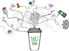 Lets talk concept on coffee cup - stock illustration