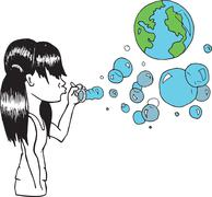 Girl blowing earth bubbles - stock illustration