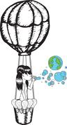 Girl blowing earth bubbles in hot air balloon - stock illustration