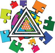 Triangle earth and jigsaw pieces Stock Illustration