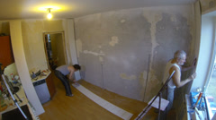 Repair. Facing the wall panels. Stock Footage