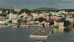 St Johns Antigua city harbor colorful buildings 1 HD 1327 Stock Footage