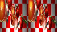 Stock Video Footage of Fruits flying. Real 3D stereoscopic.