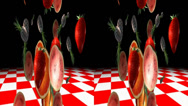 Stock Video Footage of Fresh fruits on red and white background. Real 3D stereoscopic.