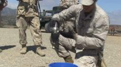 US - Army - Pioneer Training 05 - Burning Bottle Stock Footage