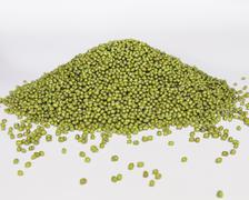 mung beans, also known as green gram or golden gram, native to india. heaped  - stock photo
