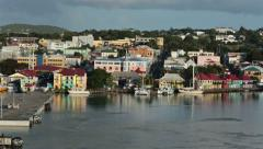 St Johns Antigua city harbor colorful buildings 2 HD 1327 Stock Footage