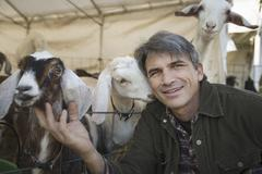 a man with a group of goats in a pen. livestock farming. goats kept for meat  - stock photo
