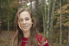 A day out at ashokan lake. a young girl in a red winter knitted jumper. Stock Photos