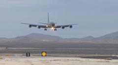 A KC-135 stratotanker landing at Red Flag Stock Footage