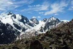 mountain tops and glaciers - stock photo