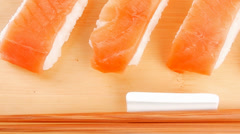 Japanese traditional Cuisine - Set of Nigiri sushi Stock Footage