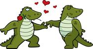 Stock Illustration of Alligator Romance