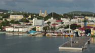 Stock Video Footage of St Johns Antigua city harbor colorful buildings HD 1327