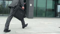 Slow Motion Of A Successful Businessman Rushing Being Late For Work Stock Footage