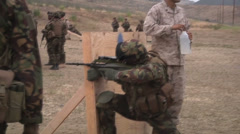 US - Army - Shooting Training 16 - Taking cover Stock Footage