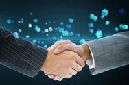 Stock Illustration of Composite image of business handshake against cubes