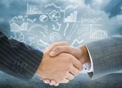 Stock Illustration of Composite image of business handshake against drawn graph