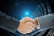 Stock Illustration of Composite image of business handshake