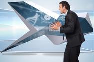 Composite image of stressed businessman gesturing Stock Illustration
