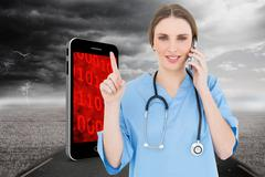Composite image of pretty woman doctor phoning and pointing with her finger Stock Illustration