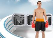 Stock Illustration of Composite image of boxer standing