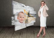 Stock Illustration of Composite image of severe pretty businesswoman looking at camera
