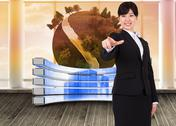 Stock Illustration of Composite image of smiling businesswoman pointing