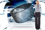 Stock Illustration of Composite image of desperate businesswoman