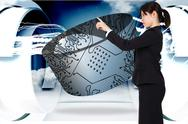 Stock Illustration of Composite image of serious businesswoman pointing