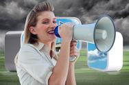 Stock Illustration of Composite image of beautiful businesswoman shouting through megaphone