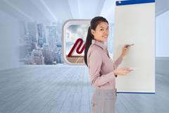 Stock Illustration of Composite image of businesswoman painting on an easel