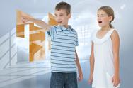 Stock Illustration of Composite image of young boy showing something to his sister