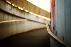 Underpass flooded by the sunset with shallow focus on graffiti. - stock photo