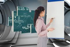Composite image of businesswoman painting on an easel - stock illustration