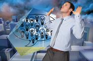 Stock Illustration of Composite image of businessman standing with arms pushing up