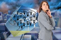 Composite image of concentrating businesswoman - stock illustration
