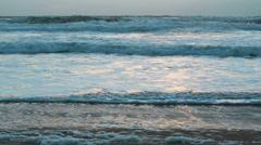 Sunset storm waves crashing during windy evening on Atlantic ocean Stock Footage
