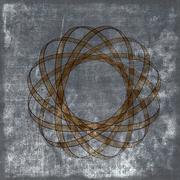 Grunge sepia background with atomic nucleus Stock Illustration