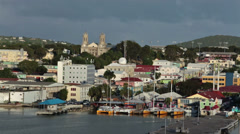 St Johns Antigua city marina colorful business fast HD 1328 Stock Footage