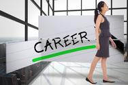 Stock Illustration of Composite image of asian businesswoman walking