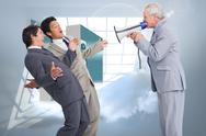 Stock Illustration of Composite image of senior salesman with megaphone yelling at his employees